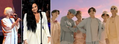 """Sia em show, Demi Lovato em apresentação no Grammy e BTS no clipe de """"Dynamite"""" (Reprodução)"""