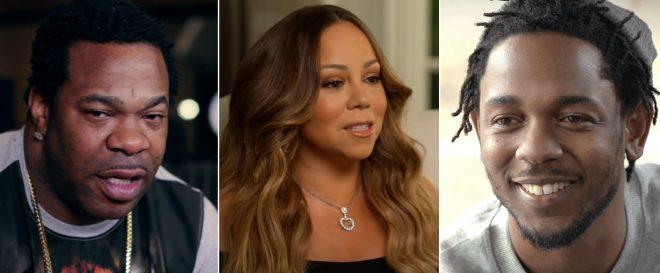 Busta Rhymes, Mariah Carey e Kendrick Lamar em entrevistas (Reprodução)