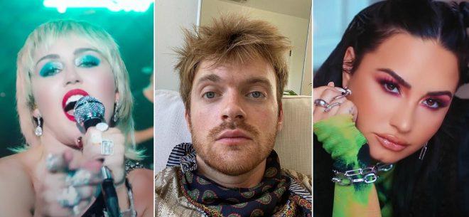 """Miley em apresentação no """"The Tonight Show"""", Finneas em foto postada no Instagram e Demi em clipe de """"OK Not To Be OK"""" (Reprodução)"""