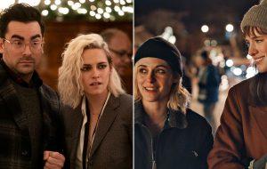 "Novas fotos mostram Kristen Stewart, Mackenzie Davis e Dan Levy em ""Happiest Season"""