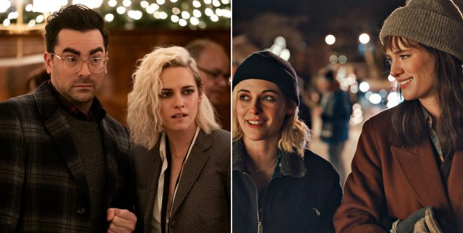 "Dan Levy, Kristen Stewart e Mackenzie Davis em ""Happiest Season"" (Divulgação)"