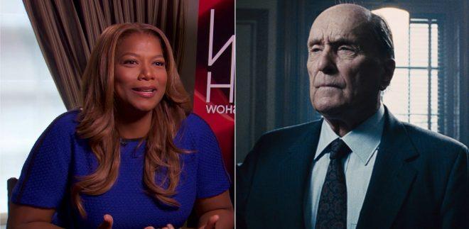 """Queen Latifah em entrevista e Robert Duvall em """"O Juiz"""" (Reprodução)"""