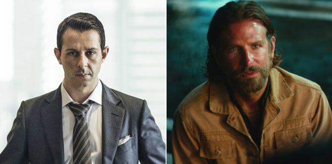 """Jeremy Strong em """"Succession"""" e Bradley Cooper em """"Nasce Uma Estrela"""" (Reprodução)"""