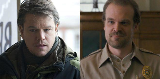 """Matt Damon em """"Contágio"""" e David Harbour em """"Stranger Things"""" (Reprodução)"""