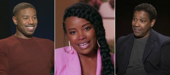 Michael B. Jordan, Chante Adams e Denzel Washington em entrevistas (Reprodução)
