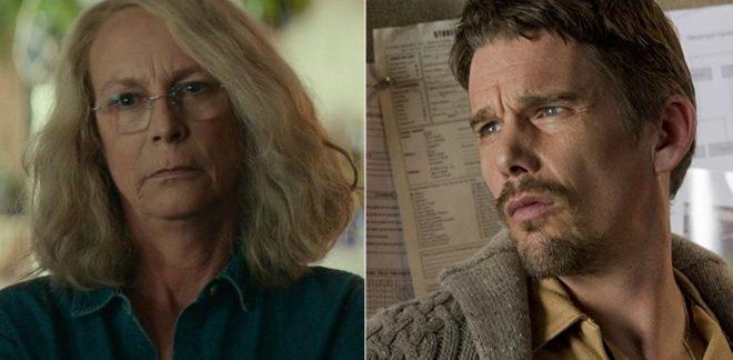 """Jamie Lee Curtis em """"Halloween"""" e Ethan Hawke em """"A Entidade"""" (Reprodução)"""
