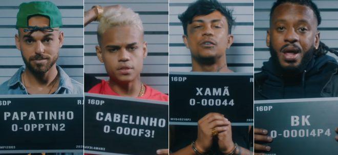 """Papatinho, MC Cabelinho, Xamã e BK em clipe de """"Lance Criminoso"""" (Reprodução)"""