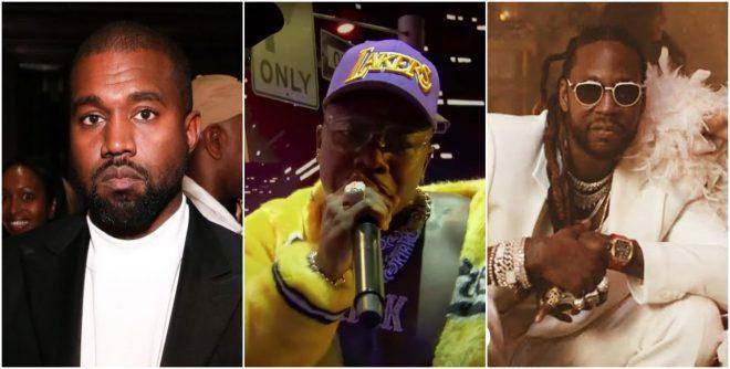 """Kanye West em evento (Getty Images), DaBaby no VMA 2020 (Reprodução) e 2 Chainz em clipe de """"7 rings"""" (Divulgação)"""