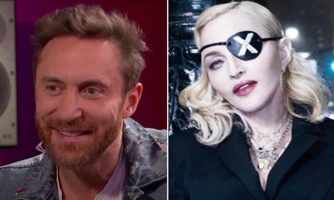 """David Guetta em entrevista ao Channel 4 News (Reprodução)/Madonna na divulgação de """"Madame X"""" (Divulgação)"""