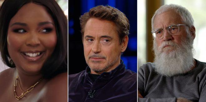 Lizzo, Robert Downey Jr. e David Letterman no trailer de série da Netflix (Reprodução)