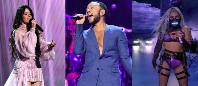 Camila Cabello e John Lengend no Grammy e Lady Gaga no VMA 2020 (Reprodução)