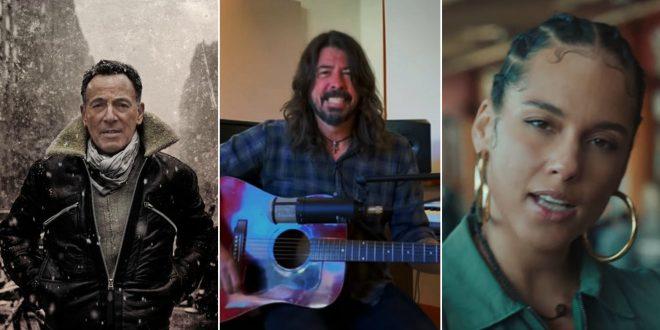 """Bruce Springsteen em imagem promocional (Divulgação)/ Dave Grohl em evento virtual (Reprodução)/Alicia Keys no clipe de """"Underdog"""" (Reprodução)"""