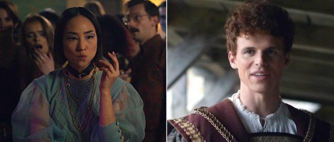"""Greta Lee em """"Boneca Russa"""" e Ruairi O'Connor em """"The Spanish Princess"""" (Reprodução)"""
