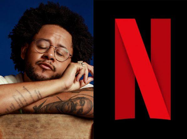 Emicida em ensaio promocional e logo da Netflix (Divulgação)