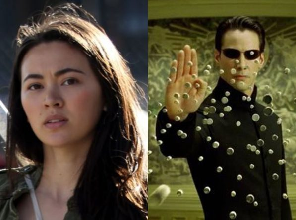 """Jessica Henwick na série """"Punho de Ferro"""" e Keanu Reeves em cena de """"Matrix"""" (Reprodução)"""