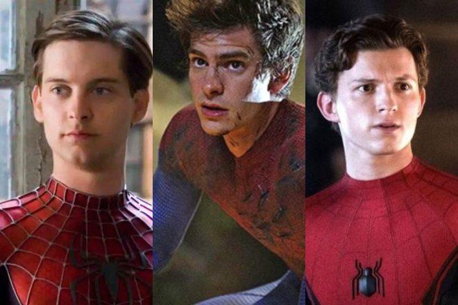 Tobey Maguire, Andrew Garfield e Tom Holland em filmes do Homem-Aranha (Reprodução)