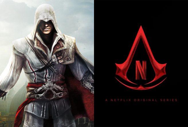 """Imagem do jogo """"Assassin's Creed"""" e logo estilizado da Netflix (Divulgação)"""