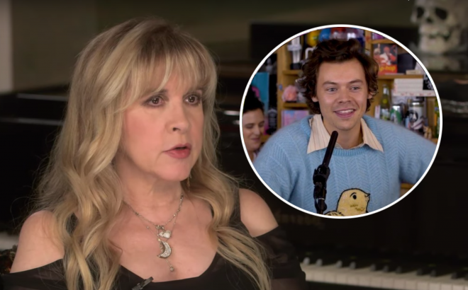 "Stevie Nicks em entrevista ao ""Ultimate Classic Rock"" e Harry Styles no ""Tiny Desk"" (Reprodução)"
