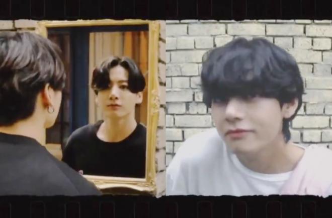 Jungkook e V em vídeos publicados pela Big Hit (Reprodução)