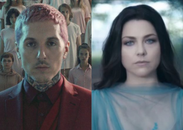 "Amy Lee no clipe de ""Speak To Me"" e cena do clipe de ""Mantra"", do Bring Me The Horizon (Reprodução)"
