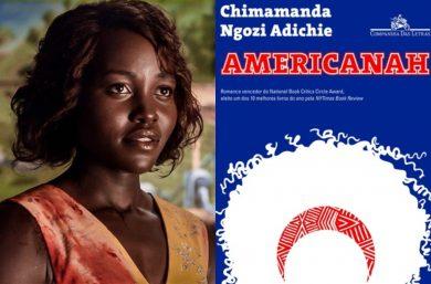"""Lupita Nyong'o no filme """"Little Monsters"""" e capa do livro """"Americanah"""" (Reprodução/Divulgação)"""