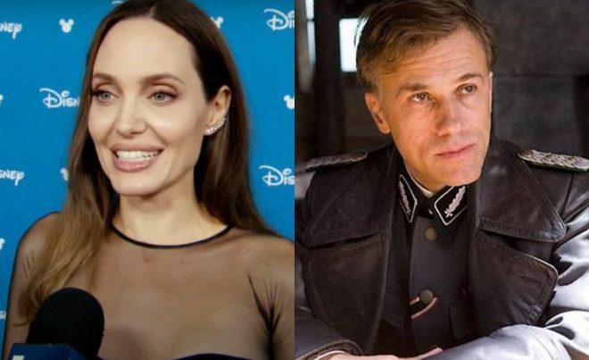 """Angelina Jolie em entrevista e Christoph Waltz em """"Bastardos Inglórios"""" (Reprodução/Divulgação)"""
