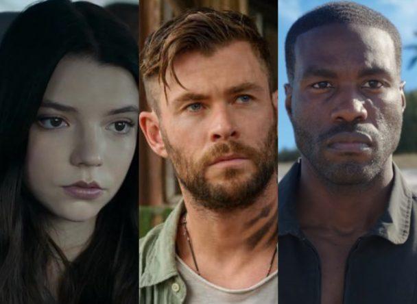 "Anya Taylor-Joy em ""Vidro"", Chris Hemsworth em ""Resgate"" e Yahya Abdul-Mateen II em ""Aquaman"" (Reprodução)"