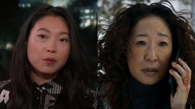 """Awkwafina no """"Kimmel Live"""" (Reprodução)/Sandra Oh em cena de """"Killing Eve"""" (Reprodução)"""