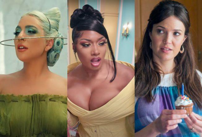 """Lady Gaga em """"911"""", Megan Thee Stallion em """"WAP"""" e Mandy Moore em """"This is Us"""" (Reprodução)"""