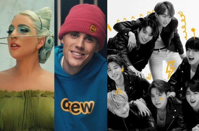 """Lady Gaga no clipe de """"911"""", Justin Bieber no documentário """"Seasons"""" e BTS em foto do álbum """"Map of the Soul: 7"""" (Reprodução/Divulgação)"""