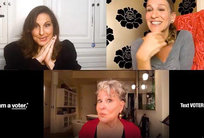 Bette Midler, Kathy Najimy e Sarah Jessica Parker em vídeo publicado no Instagram (Reprodução)