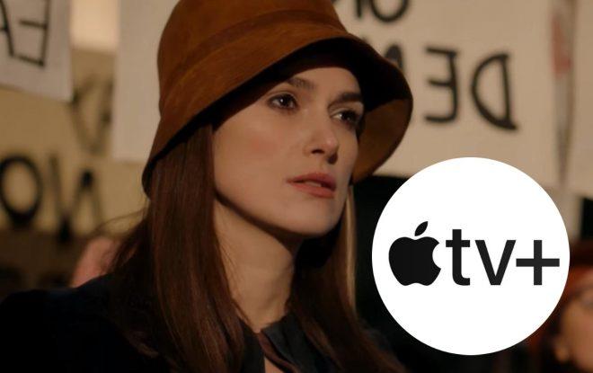 """Keira em """"Misbehaviour"""" (Reprodução)/Logo da AppleTV+ (Divulgação)"""