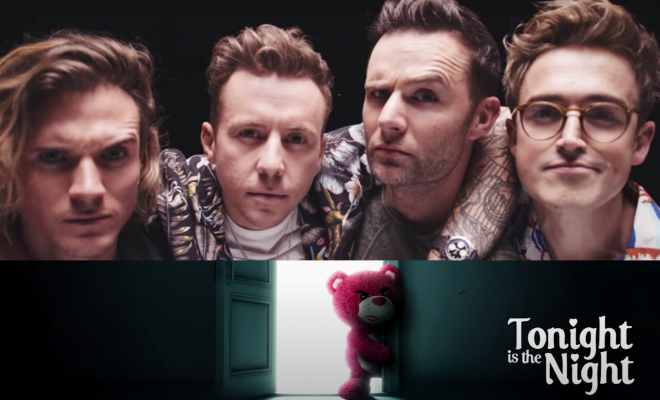 "McFly no vídeo ""McFly Are Back"" (Reprodução)/Capa do single ""Tonight is the Night"" (Divulgação)"