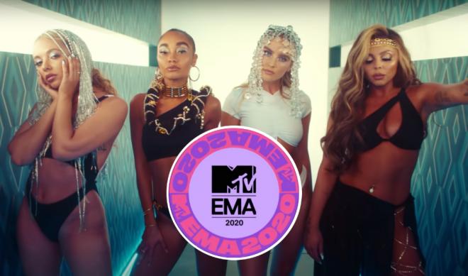 """Little Mix em """"Holiday""""(Reprodução)/Logo do EMA(Divulgação)"""