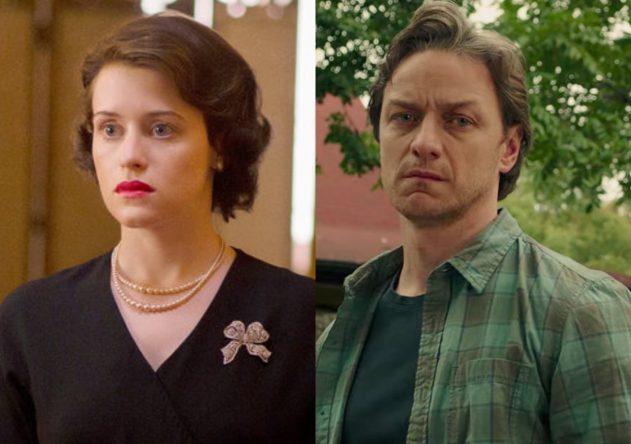 """Claire Foy em """"The Crown"""" e James McAvoy em """"It: Capítulo Dois"""" (Reprodução)"""