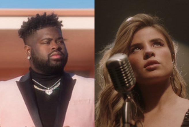 """Pink Sweat$ na capa do remix de """"17"""" e Giulia Be no clipe de """"(não) era amor"""" (Divulgação/Reprodução)"""