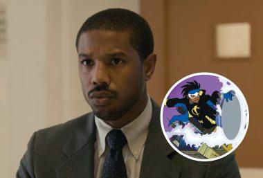 """Michael B. Jordan no filme """"Luta Por Justiça"""" e cena de série do """"Super Choque"""" (Reprodução)"""