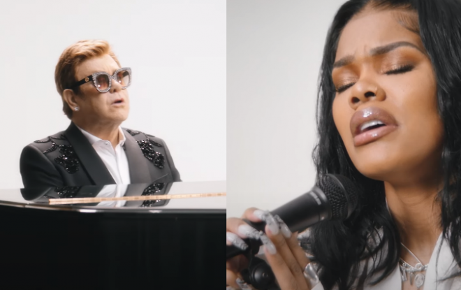 """Elton John e Teyana Taylor em cenas do clipe de """"Lose Each Other"""" (Reprodução)"""
