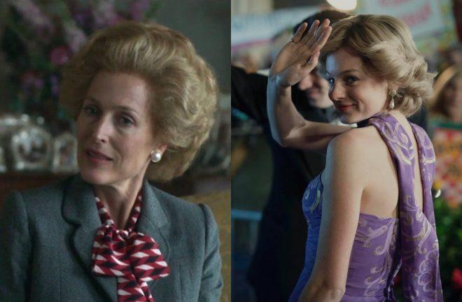 """Gillian Anderson e Emma Corrin em """"The Crown"""" (Reprodução)"""