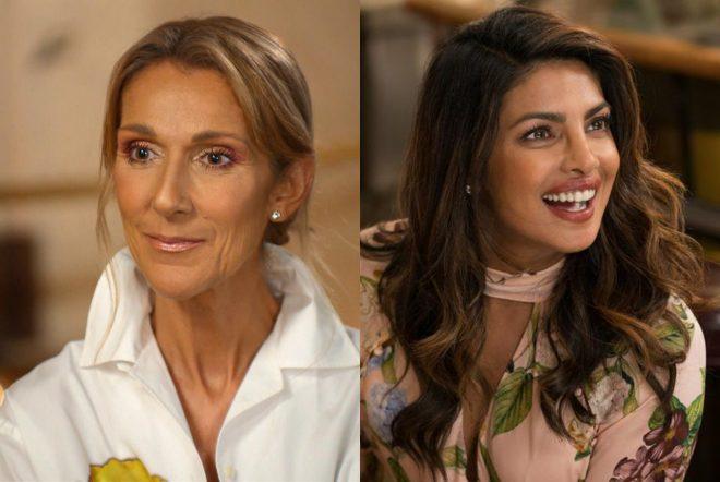 """Celine Dion em entrevista ao Today Show e Priyanka Chopra no filme """"Isn't It Romantic"""" (Reprodução)"""