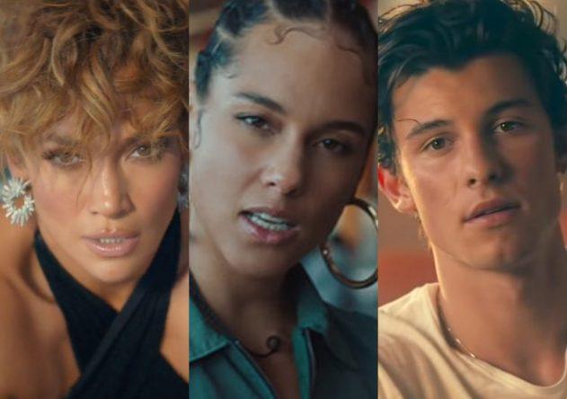 """JLo no clipe de """"Pa Ti"""", Alicia Keys em """"Underdog"""" e Shawn Mendes em """"Señorita"""" (Reprodução)"""