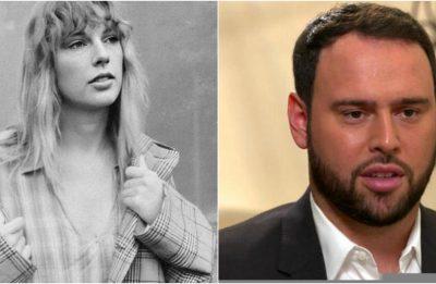 Taylor Swift em foto promocional e Scooter Braun em entrevista (Divulgação/Reprodução)