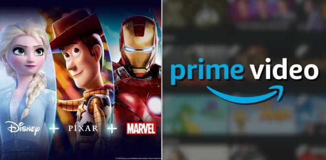 Imagens promocionais do Disney+ e do Prime Video (Divulgação)