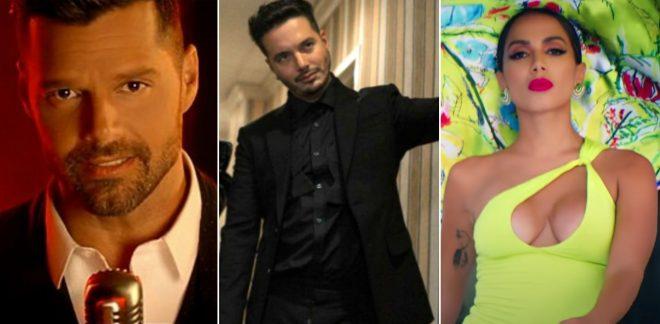 Ricky Martin em clipe (Reprodução)/J Balvin em imagem promocional (Divulgação)/ Anitta em clipe (Reprodução)