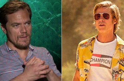 """Michael Shannon em entrevista e Brad Pitt em """"Era Uma Vez em... Hollywood"""" (Reprodução)"""