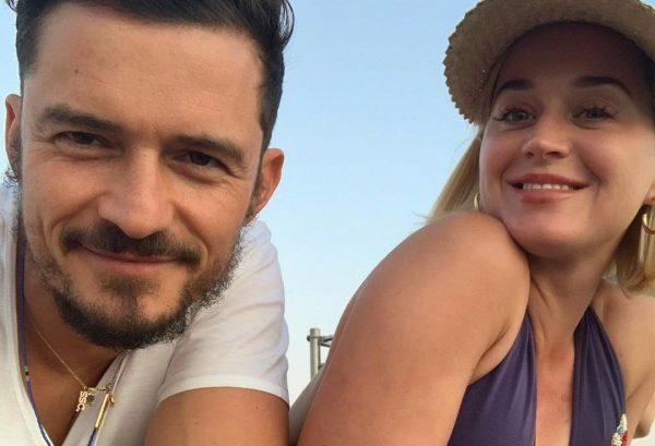 Orlando Bloom e Katy Perry em foto publicada no Instagram (Reprodução)