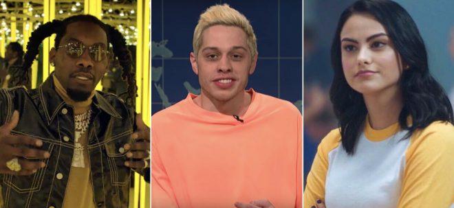 """Offset no clipe de """"Clout"""", Pete Davidson no SNL e Camila Mendes em """"Riverdale"""" (Reprodução)"""
