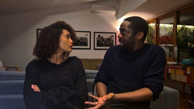 "Taís Araújo e Lázaro Ramos na série ""Amor e Sorte"" (Reprodução)"
