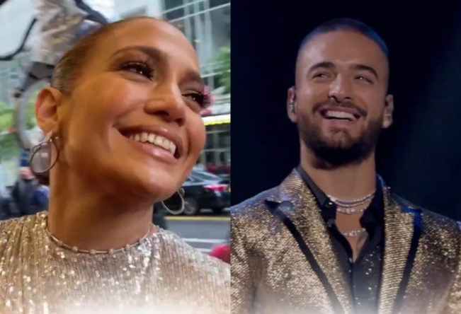 """Jennifer Lopez e Maluma no filme """"Marry Me"""" (Reprodução)"""