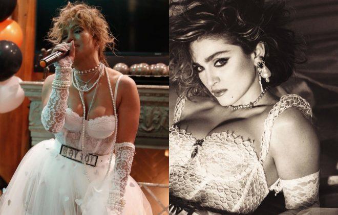 """Foto publicada por JLo (Reprodução)/ Madonna em """"Like a Virgin"""" (Divulgação)"""